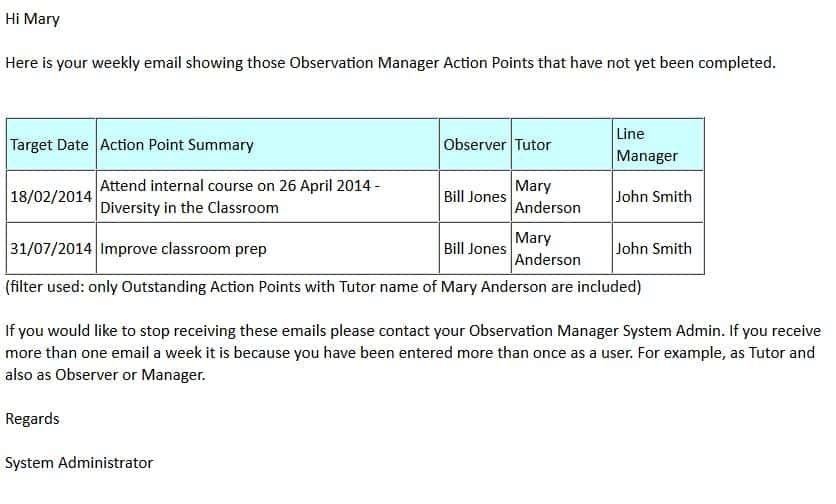 Lesson Observation Action Point Sample Email